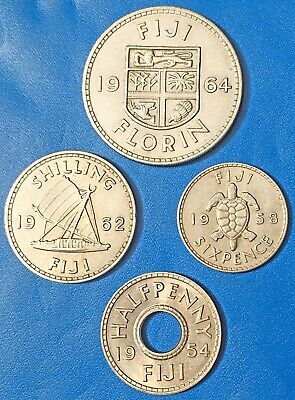 FIJI:- 4 different denomination Queen ELIZABETH II coins dated 1954 - 64. AP7793