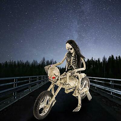 Life-Size Evil Skeleton Motorcycle With Skeleton Zombie Prop Haunted Display