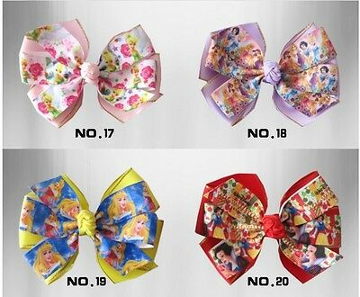 """100 BLESSING Happy Girl 4/"""" Double Hair Bow Clip Princess New Ribbon Wholesale"""