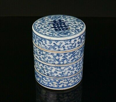 Antique Chinese Blue and White Porcelain Lotus Happiness Stacking Box 19thC QING