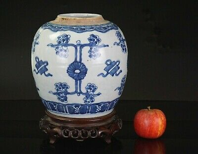 Chinese Antique Blue and White Porcelain Ginger Jar & Wooden Stand KANGXI 18th C