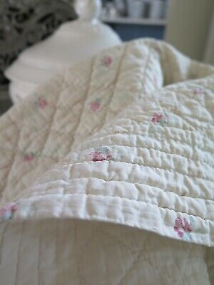 Old french Boutis Petite Fleur Quilt Bed Spread Plaid Alter Bettüberwurf SHABBY