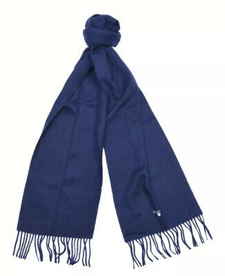 Unisex Barbour Lambswool Scarf With Embroidered Logo New BNWT Winter Navy Blue
