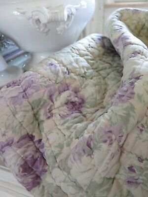 """Old french Boutis """"Cabbage Roses"""" Bed Spread Quilt Plaid Bettüberwurf SHABBY"""