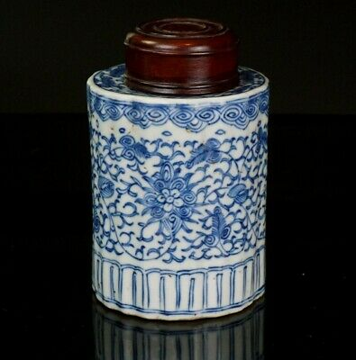 Antique Chinese Blue and White Porcelain Lobed Tea Caddy & Wooden Lid 18/19th C