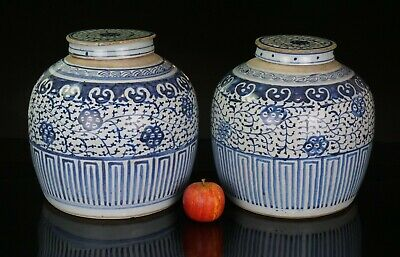 LARGE Pair Chinese Antique Blue and White Porcelain Vase Jar & Cover 18th C QING