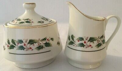 Vintage Fine China Japan Holly Holiday (FCJ5) Covered Sugar Bowl and Creamer