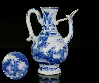 FINE! Chinese Blue and White Porcelain Wine Pot Ewer Transitional CHONGZHEN 17 C