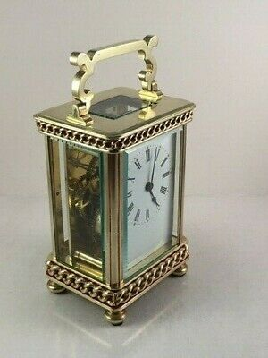 Beautiful Antique Brass Carriage Clock With Unusual Case & Handle. Key.