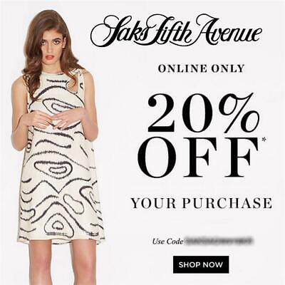 20% off SAKS FIFTH AVENUE Promo Coupon Code 2 DAYS ONLY Exp MON 10/14 10 15 5th