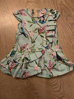Baby Girls Ted Baker Dress Age 6-9 Months Bird And Flower Print Frill Detail