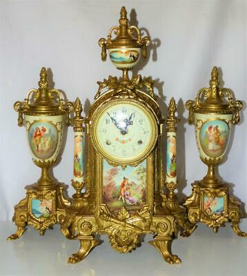 Vintage Franz Hermle French Sevres Style 8 Day Ormolu Clock Signed + Garnitures.