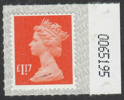 2017 £1.17 CODE M17L SBP2u NUMBERED 0065195 on SELVEDGE MNH From Counter Sheet