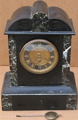Old Heavy Black Slate Mantel Clock Decorated With Marble