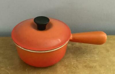 Vintage Le Creuset Flame Orange Red Covered Sauce Pan 14 Hollow Handle 28 Oz