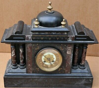 Old Large Japy Freres Heavy Black Slate Mantel Clock With 4 Marble Pillars
