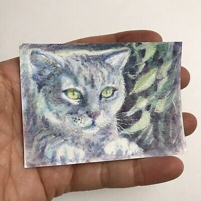ACEO Original painting kitten Cat tabby fine art Originals direct from artist