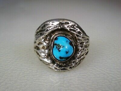 OLD NAVAJO CAST STERLING SILVER & KINGMAN TURQUOISE NUGGET RING sz 8.5