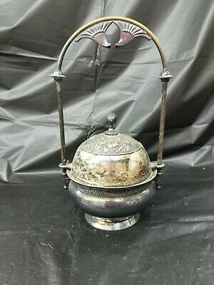 Antique Rogers Smith Co Silverplate Repousse Floral Caviar Server or Butter Dish
