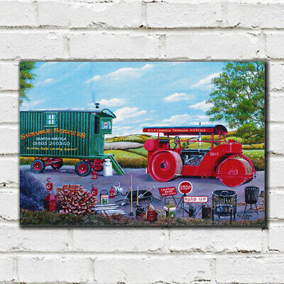 Roller Road Repair - 80 - Roy Didwell Canvas Print