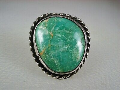 OLD NAVAJO STERLING SILVER  & CARICO LAKE TURQUOISE RING sz 7