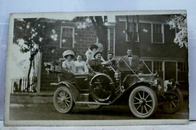 Real Photo Family Antique Car Automobile Postcard Old Vintage Card View Standard