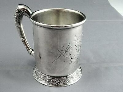 Fancy Victorian Silver Plate Bright Cup Mug Cup Barbour Brothers Ca 1885