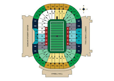 2 Notre Dame vs Virginia Tech Tickets. Section 10 . VT Side Line