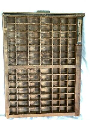 Antique Printers Tray 98 Cubby's Fantastic Display W/Bronze Ludlow Pull