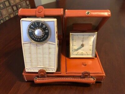 Vintage Rca Victor Travel Radio/ Clock Set W/Case; Excellent! Leather Collctible