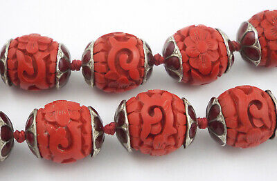 * Chinese - Long Vintage Red Enamel Capped Carved Cinnabar Beads Necklace - 30""