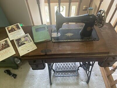 Antique Singer Model 66 Treadle Sewing Machine w/ Cabinet Table No 2 & Extras