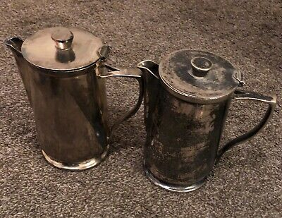 2 Antique D.W Haber Son Nickel Silver Soldiered Pitchers