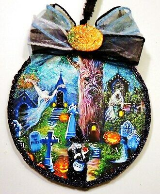 Hand Made WITCH GHOSTS JOLS CELEBRATE glittered WOOD SLICE HALLOWEEN Ornament