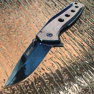 "8"" Mtech Two Tone Spring Assisted Tactical EDC Folding Pocket Knife Open Blade"