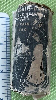 Antique Quack Brain Fag Wooden Medicine Bottle