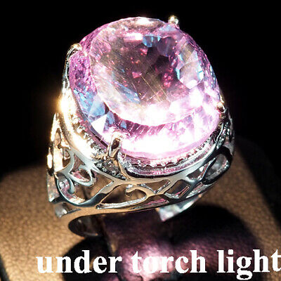 Change Blue Purple Spinel Ring Concave 22.80 Ct.sapp 925 Sterling Silver Sz 7.5