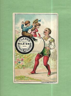 CIRCUS STRONG MAN LIFTS CHILDREN Using CLARK'S SPOOL COTTON Victorian Trade Card