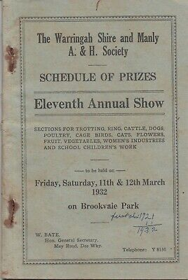 1932  WARINGAH SHIRE & MANLY:  ELEVENTH  ANNUAL  SHOW  SCHEDULE  (80 pages)