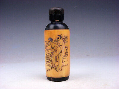 Bone Crafted Snuff Bottle Exotic Ancient Figurines Painted w/ Spoon #12091801