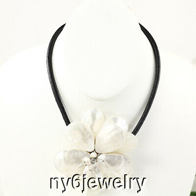 """Natural White Mother Of Pearl Large Flower Pendant 19"""" Leather Necklace"""