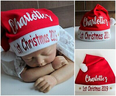 BABY BEANIE 1st FIRST CHRISTMAS SANTA HAT PERSONALISED CUSTOM NAME XMAS RED