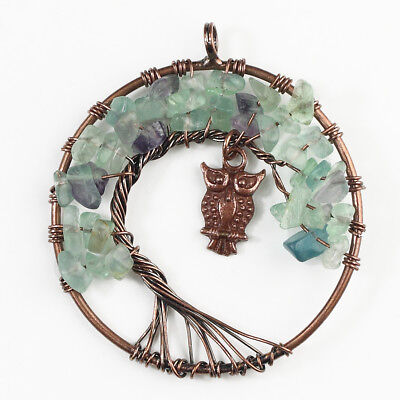 Natural Fluorite Chip Beads Tree of Life Copper Owl Reiki Chakra Round Pendant