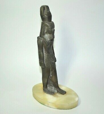 "Vintage Egyptian Revival 9.5"" Figurine Man God Statue Cast Metal Marble Base"