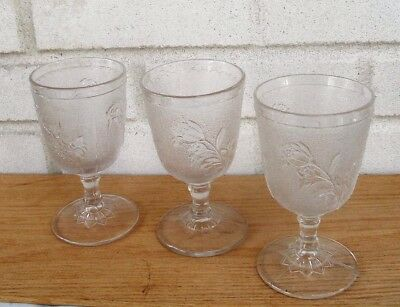 Lot Three Antique Early American Pattern Glass Rose in Snow Goblets Excellent!