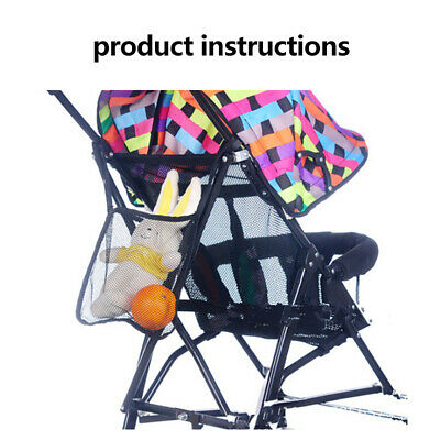 Baby Stroller Pram Pushchair Net Mesh Hanging Bag Organizer Diaper Storage