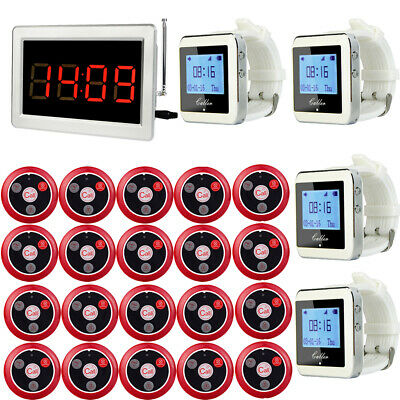 Wireless Restaurant Guest Calling Watch Paging System 20X Pagers +1X Host 433MHZ