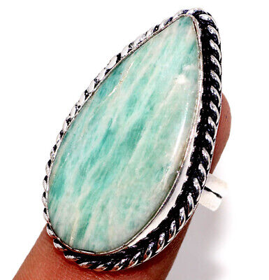 F1928 Amazonite 925 Sterling Silver Plated Ring Us 8