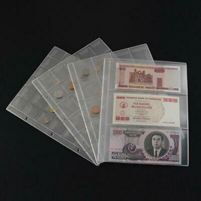 Transparent Pockets Classic Coin Holders Sheets for Storage Collection Album