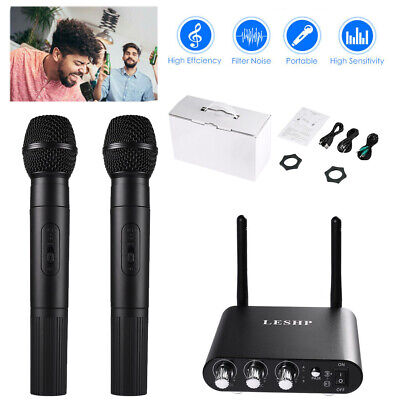 Professional UHF 10 Channel Wireless 2 Handheld Microphone Mic System Bluetooth
